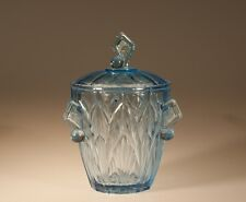 Vintage Deco Glass Blue Biscuit Barrel Cookie Jar English? Czech? c.1930