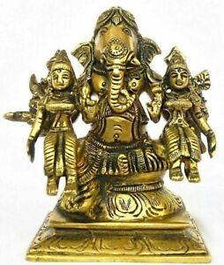 Brass Lord Ganesh Riddhi Siddhi Idol Ganesha Figurine Statue Sculptures