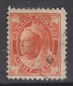 """Canada Scott #72  8 cent orange  """"QV Maple Leaf""""    F"""