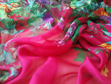 DESIGNER 100% SILK CHIFFON HOT PINK WITH FLORAL PRINT S202