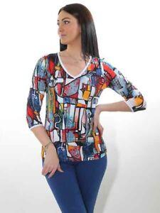 -10% NEU Shirt Dolcezza S M L XL XXL Kunst und Mode bunt Viscose Jersey Sommer