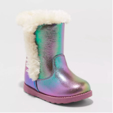 New Cat & Jack Katrina Shearling Ankle Boots Purple Sparkle Toddler Girl Size 5