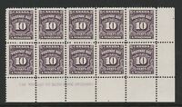 CANADA 1935-65 10c POSTAGE DUE IN BOTTOM RIGHT BLOCK No 1 SG D24 MNH.