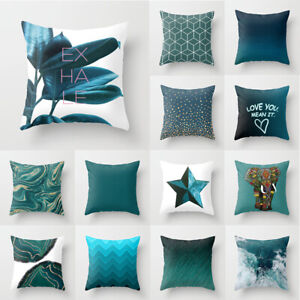 Teal Blue Double-sided Printing Square Pillowcase Home Decor Sofa Cushion Cover