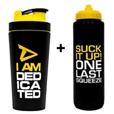 Dedicated Nutrition Metal Shaker 750ml + 1 Litre Gym Sports Squeeze Water Bottle