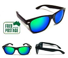 Classic Retro Sunglasses - Jade / Green Mirror Lens - Matte Black Frame