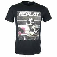 Replay Round Neck Printed Logo Black T-Shirt