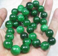 cadeau d'anniversaire ! 12mm perles, nature, vert, jade, jadéite, collier,45 cm