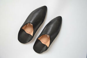 Moroccan Slippers Women Babouches Leather Handmade Traditional Choice Black whit