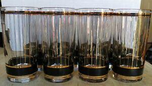Set of 12 Vintage Culver Devon Barware Highball Tumbler Glasses Gold/Black