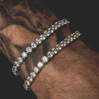 Mens Round Cut 7-9 Inch CZ Iced Gold or Silver Hip Hop Tennis Chain Bracelet 5mm