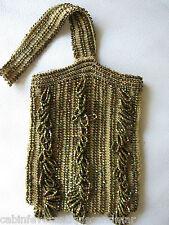 Vintage Art Deco Crochet Gold Brown Peacock Carnival Glass Bead Flapper Purse