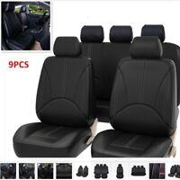 9Pcs Black Universal Car Seat Covers Kit PU Leather Cushion Full Protect Set NEW