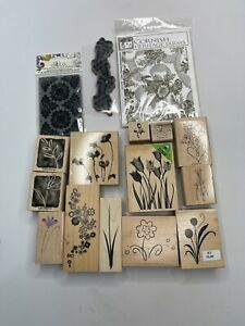 Rubber Stamps Lot of 15 Flowers Wood and Cling