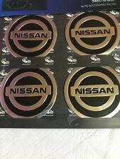 Nissan Wheel Cap Metal Aluminium Stickers 4x60mm Fits on Alloy Centre Hub