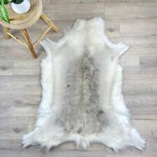 White Reindeer Skin Rug Fur Throw with Grey | Reindeer Hide Pelt