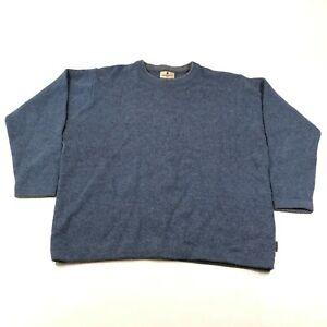 Woolrich Sweater Jumper Mens XL Navy Blue Crew Neck Chunky Knit Wool Blend