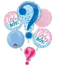 NEW Baby Gender Reveal Boy or Girl 5pc Balloon Bouquet Party Shower Game He She?
