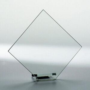 Glas solide Qualität Glas Trophäe Raute neutral Curtis