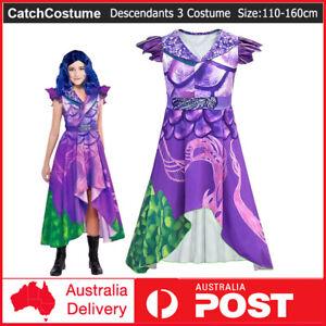 Descendants 3 Audrey Mal Cosplay Costume Wig Kids Girls Jumpsuit Halloween Dress