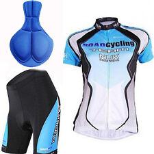 Kurzarm Atmungsaktiv Radsport Cycling Jersey Fahrradtrikot & Radlerhose Blau