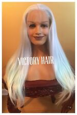 Light Multi Colored Blue Highlight. Purple Mix lace front wig. human Hair Blend