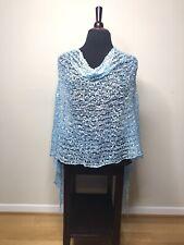 Womens Poncho Wrap Shawl Italian Knit Lace Blue One Size NEW