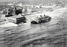 Photo: Liner SS Morro Castle Wrecked At Asbury Park, Aerial Off Shore View, 1934