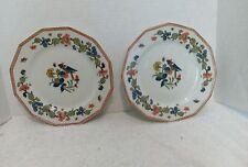 "Antique A.Lanternier Limoges, 2 Salad Plates, 7 3/4"", 12 sided, Floral, Bird,"