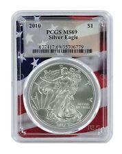 2010 1oz Silver Eagle PCGS MS69 - Flag Frame
