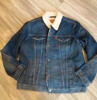 LEVIS SHEPRA Jean Jacket Trucker Denim Lucky Town Blue Cotton Warm Men's SZ-XL