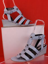 NIB BALENCIAGA ARENA LIGHT BLUE LEATHER METAL STUDDED WEDGE SANDALS 41 10 $ 695