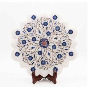 "18"" Marble Corner Table Top Semi Precious Stones Lapis Floral Inlay work"