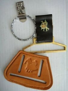 LOT vintage 3pc SQUARE DANCE WESTERN BELT HOOKS TOWEL HOLDERS leather/metal