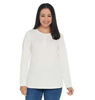 Denim & Co. Essentials Long Sleeve Button Henley Waffle Knit Top - Natural - 2X