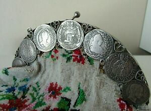 ANTIQUE SILVER 800 AUSTRIAN COIN FRAME BEADED HAND BAG PURSE 378G