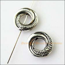 5Pcs Antiqued Silver Tone Round Circle Spacer Beads Frame Charms 14.5mm