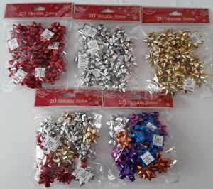 Luxury Pack Of 20 Metallic Gift Self Adhesive Bows Presents XMAS Party Birthday