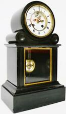 Antique French Ardoise & verre mantel clock 8 Day Régulateur visible escapement