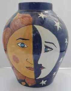 Vtg Celestial Sun Moon LARGE Vase Folk Art Ceramic Painted Talavera Mexico Ruth