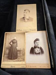 Vintage Cabinet Card (3) Photos adult portraits Mound City, MO