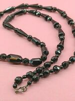 """Art Deco Black French Jet Cone / Rod / Bead Faceted Necklace Longer Matinee 26"""""""