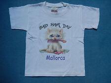 T-Shirt weiß Katze Bad Hair Day, Gr. 6, 116  - WIE NEU