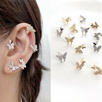 5pcs Crystal Rhinestone Butterfly Stud Earrings For Women Girl Party Simple Gift