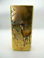Artist handpainted Porcelain Vase Buck Deer and Cardinal Textured Gold 8.5""