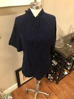 Ladies sz medium hoodie in dark Blue by CHAPS w/ short sleeves. FREE ship!