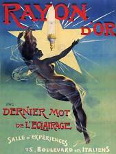 Annuncio Ray ORO LAMPADINA Paris France Vintage Poster Art Print 821py