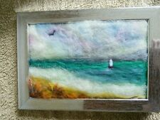 Needle felted picture sea  boat birthday gift 6x4