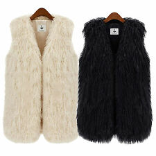 Winter Faux Fur Women Sleeveless Vest Waistcoat Jacket Gilet Shrug Coat Outwear