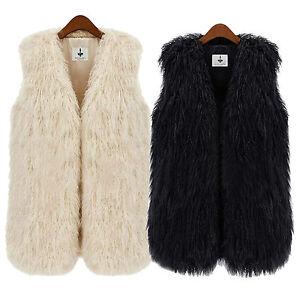 Women Faux Fur Warm Vest Coat Waistcoat Gilet Winter Soft Fleece Jacket Outwear